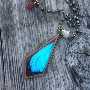 Jewelry - Real Butterfly (Blue Morpho Wing) Locket Necklace